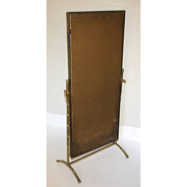 1950s French Bagues Bronze Bamboo Cheval Floor Mirror For Sale - Image 9 of 11