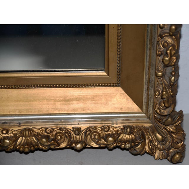 Elaborate 19th Century Carved & Gilded Frame with Mirror C.1890s For Sale - Image 4 of 8