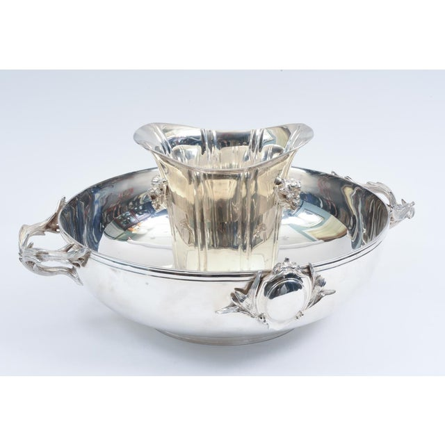 Large English Sheffield Silver Plated Champagne Cooler With Ice Bucket For Sale - Image 12 of 13
