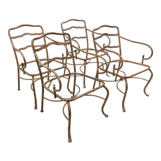 Vintage Set Metal Arm Chairs For Sale