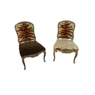 18th Century Antique Italian Hand Carved Florentine Chairs-a Pair For Sale