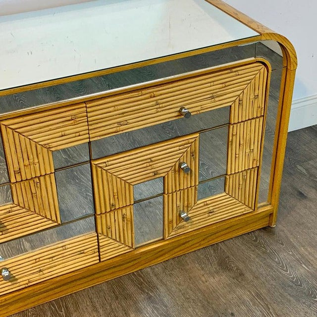 Fabulous Midcentury Mirror Inlaid Segmented Bamboo Dresser or Credenza For Sale - Image 11 of 12