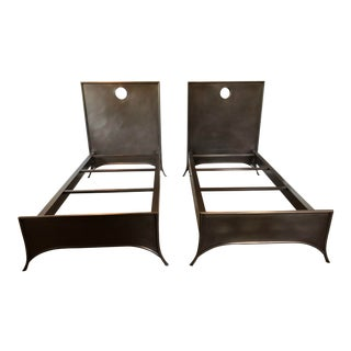 Restoration Hardware Keyhole Square Metal Beds With Footboards - A Pair For Sale
