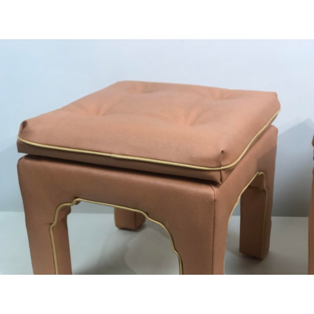Billy Baldwin Vintage Hollywood Regency Billy Baldwin Pink Upholstered Ottoman Set- a Pair For Sale - Image 4 of 11