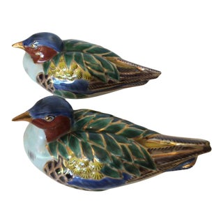 Antique Asian Porcelain Hand Painted Mandarin Ducks - a Pair For Sale