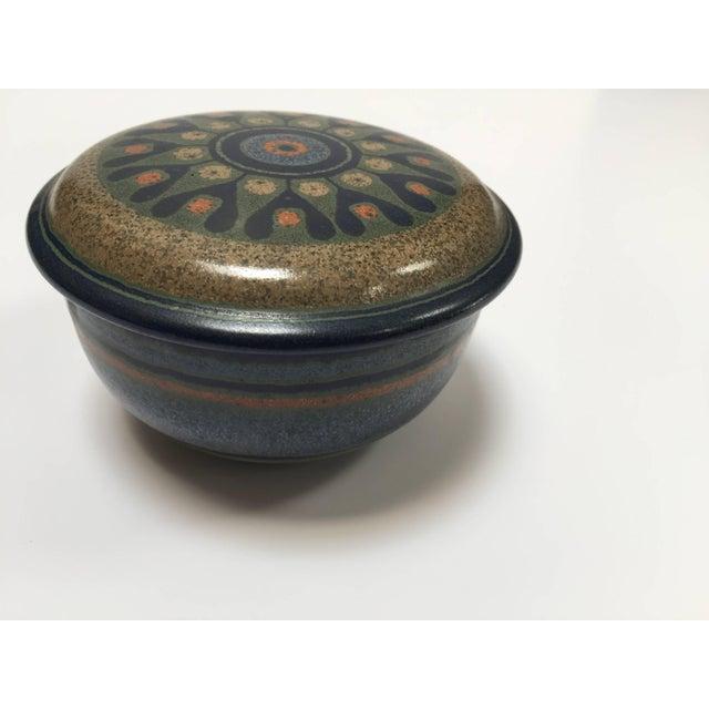 Metal Hand-Painted Lidded German Ceramic Bowl by Kmk For Sale - Image 7 of 7