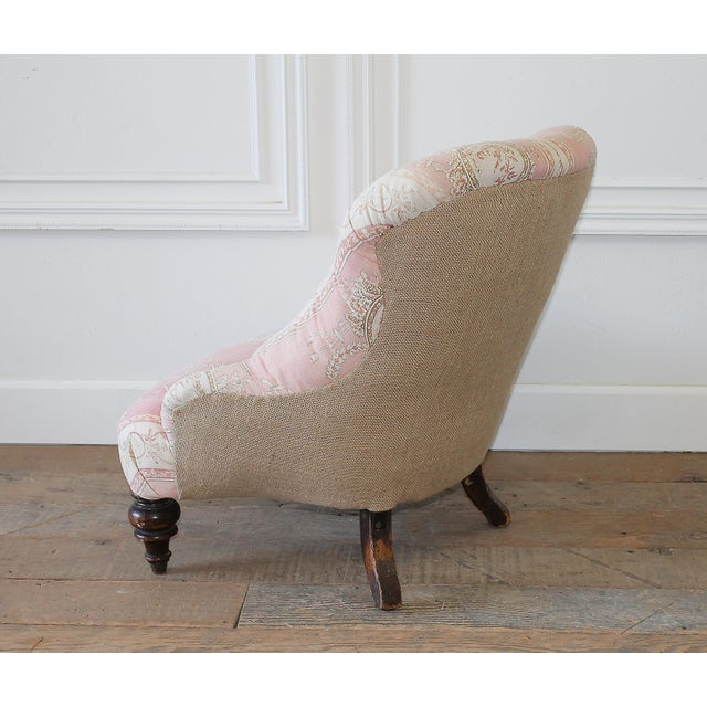 Pink 19th Century Napoleon III Button Tufted Chair For Sale - Image 8 of 12