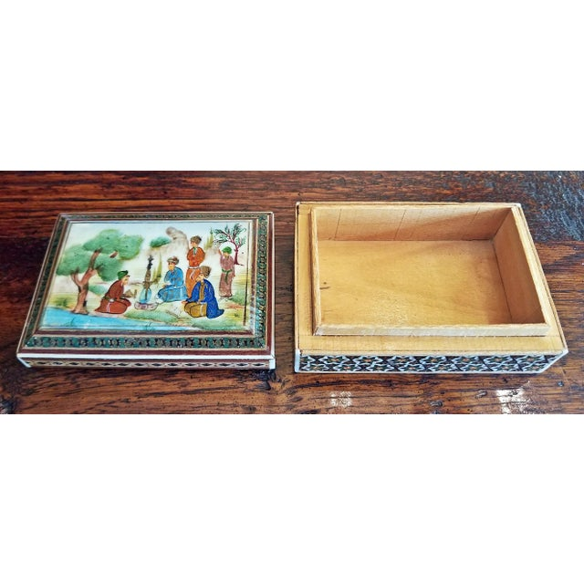 Gold Persian Handpainted Khatam Mosaic Trinket Box For Sale - Image 8 of 9