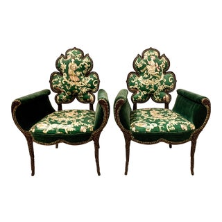 Pair of Hollywood Regency Grosfeld House Flower Chairs For Sale