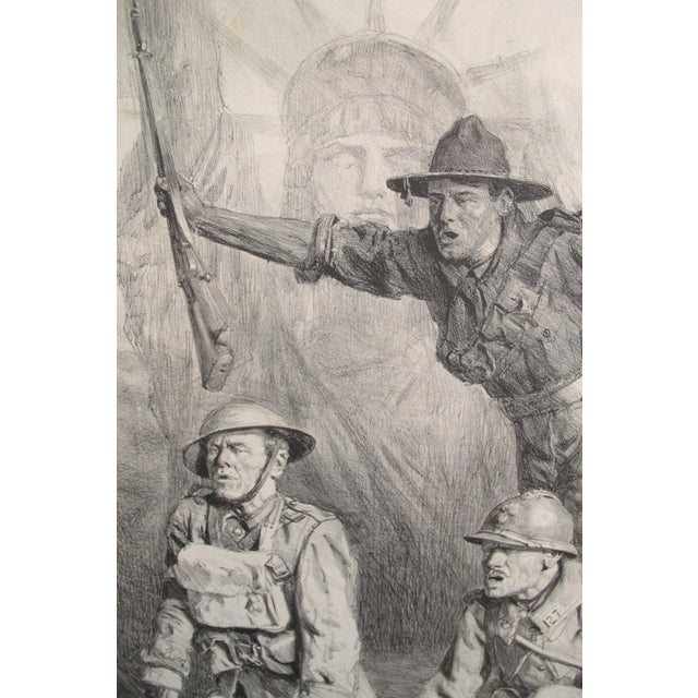 1917 Signed French Wwi Propaganda Poster, Soldiers With Statue of Liberty For Sale - Image 4 of 5