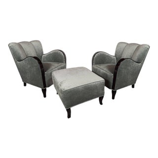 1930s Art Deco MS Stockholm Ocean Liner Ebonized Walnut Club Chairs and Ottoman - Set of 3 For Sale