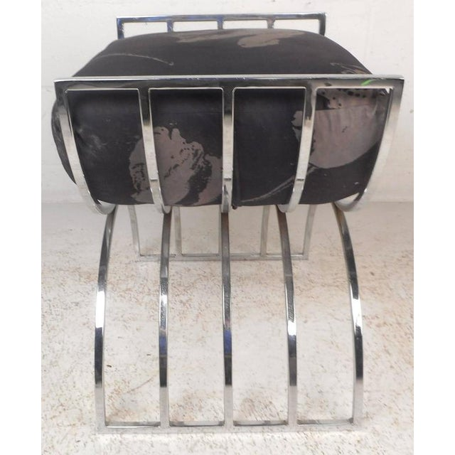 Unique Mid-Century Modern Chrome Stool or Ottoman - Image 5 of 8