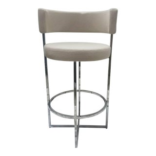 Porada Sirio Counter Stool Taupe Felt Barstool For Sale