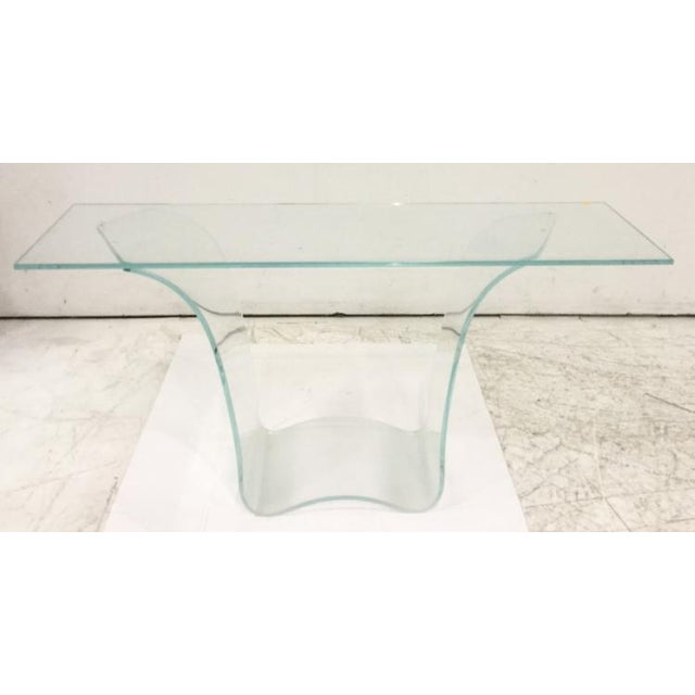 Late 20th Century Vintage Fiam Style All Glass Ghost Console Table For Sale - Image 10 of 10