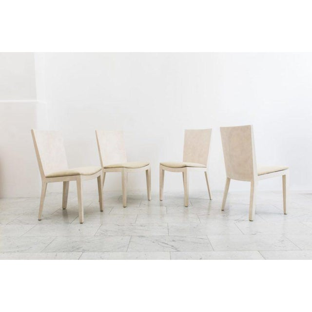 Mid-Century Modern Karl Springer, Matte Parchment Jmf Chairs, Usa, C.1975 For Sale - Image 3 of 7