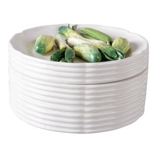 Porcelain Trompe l'Oeil Vegetable Lid Casserole For Sale