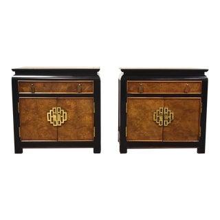 Chin Hua Burl & Brass Modern Nightstands- a Pair For Sale