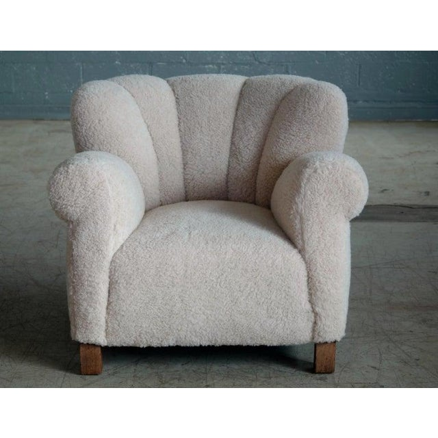 Art Deco Pair of Danish Fritz Hansen Model 1518 Large Size Club Chair in Lambswool, 1940s For Sale - Image 3 of 10