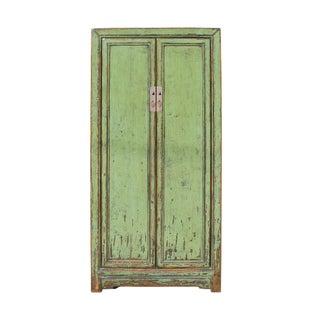 Oriental Distressed Light Mint Emerald Green Slim Storage Cabinet For Sale