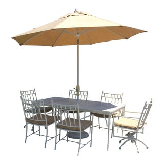 Large Rectangular Patio Dining Table Set & 6 Chairs For Sale