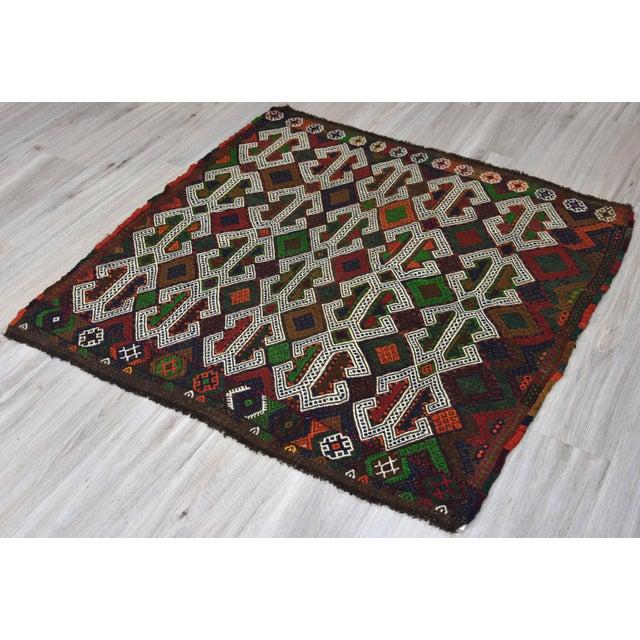 Southwestern Wool Kilim - 3′11″ × 4′3″ - Image 6 of 8