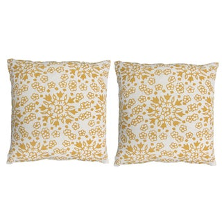"John Robshaw Golden ""Meena"" 20x20 Pillows - Pair For Sale"