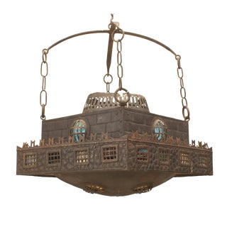 Early 20th Century Continental German Wrought Iron Chandelier For Sale