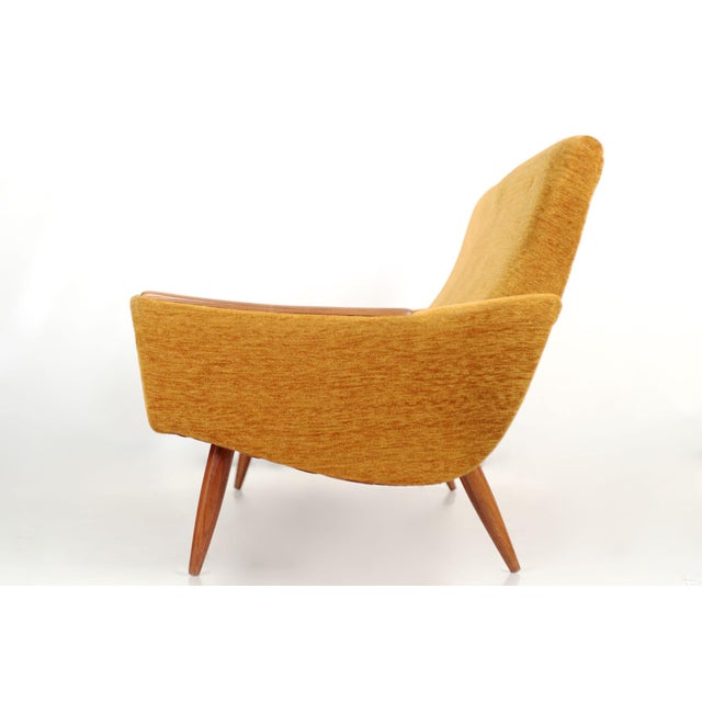 Scandinavian Mid Century Modern Orange Sculpted Walnut Sofa circa 1960s - Image 3 of 11