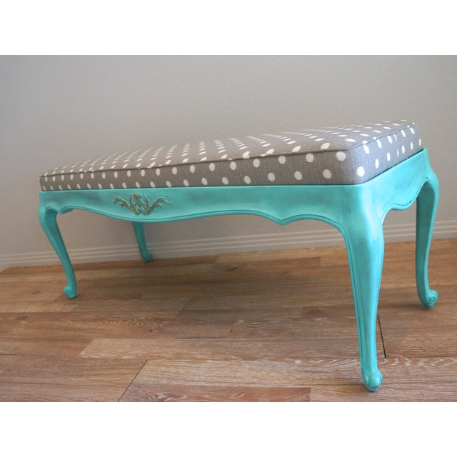 Vintage French-Style Aqua Blue & Grey Dot Bench - Image 5 of 6