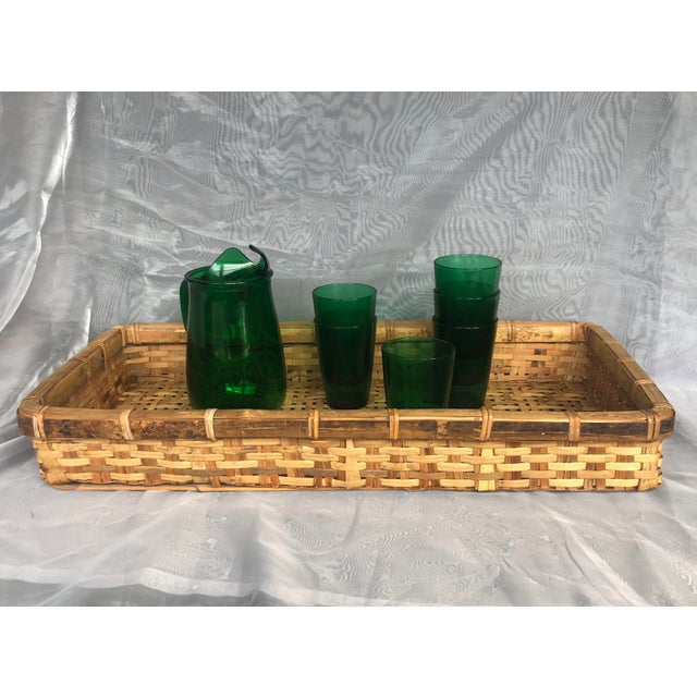 Late 20th Century Large Woven Bamboo Tray Basket For Sale - Image 12 of 13