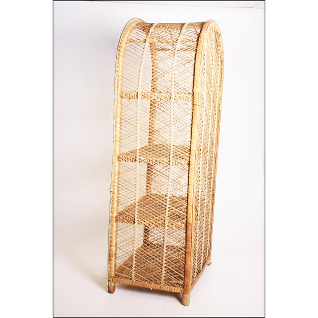 Boho Chic Vintage Boho Chic Wicker Bookcase with Dome Top For Sale - Image 3 of 11