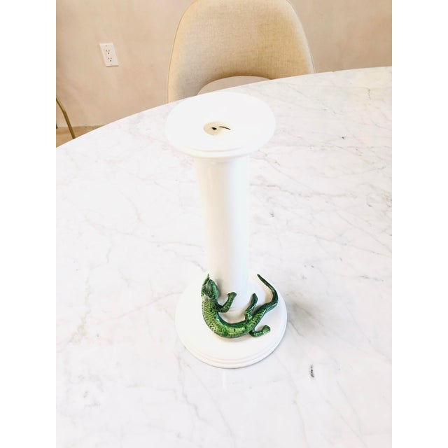 Vietri alligator candle holder. Made in Italy. Ceramic. Some wear but has been touched up. Great conversation piece.