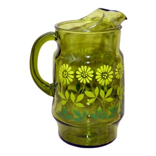 Vintage Green Glass Daisy Design Pitcher For Sale
