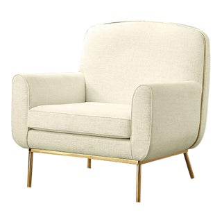 CB2 Halo White Upholstered & Brass Armchair