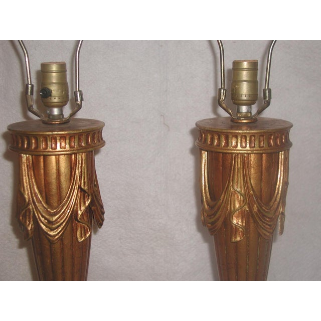 20th Century Rewired Italian Gilt Swag Lamps - 2 - Image 7 of 10