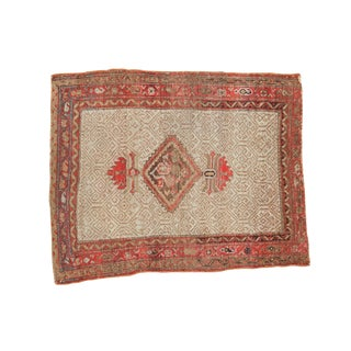 """Antique Malayer Square Rug - 3' X 3'7"""" For Sale"""