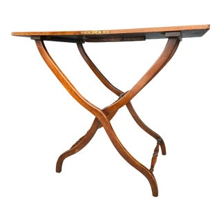 Victorian Fiddleback Mahogany Campaign Coaching Table For Sale