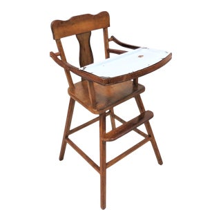 Vintage Child's Wooden High Chair With Removable Enamel Tray Insert For Sale