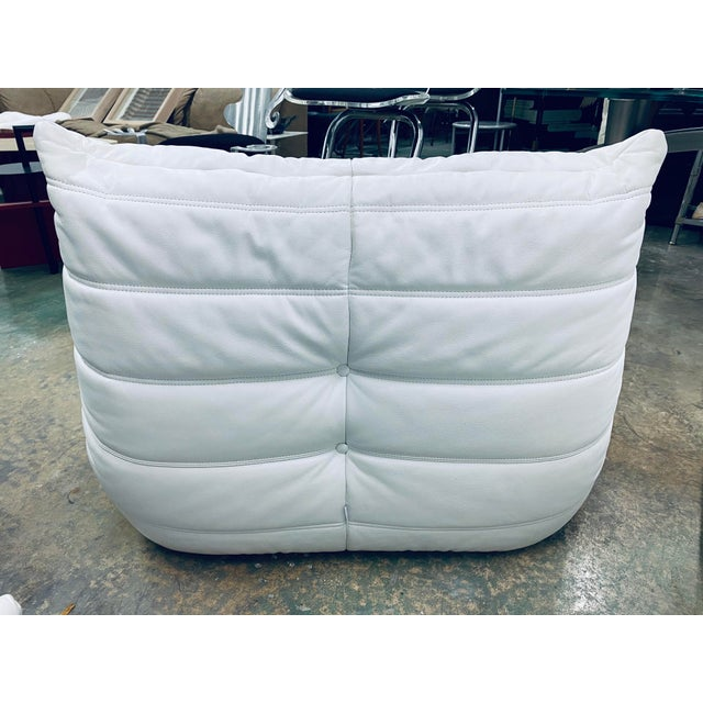 White Michel Ducaroy for Ligne Roset White Leather Togo Chair & Ottoman For Sale - Image 8 of 12