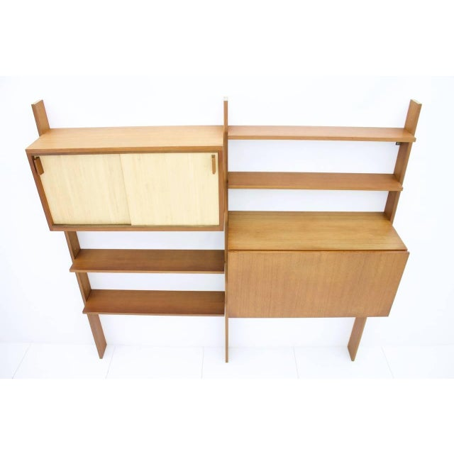 Dieter Waeckerlin Teak Shelf With Seagrass Sliding Doors With a Bar or Desk, 1950s For Sale - Image 6 of 10