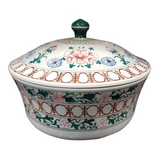 1970s Chinese Famille Rose Style Porcelain Lidded Casserole Bowl For Sale