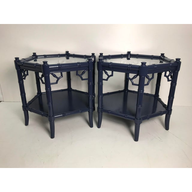 1980s Chippendale Hexagonal Navy Blue Faux Bamboo Side Tables - a Pair For Sale - Image 4 of 4