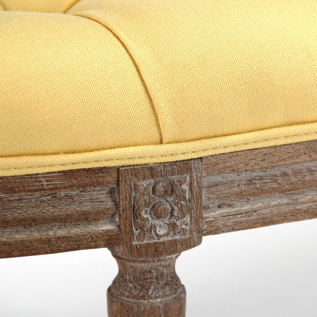 Leah Curved Bench in Yellow For Sale - Image 4 of 5