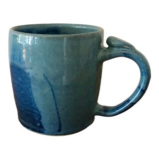 Blue Original Studio Pottery Mug by Lisa Beams For Sale