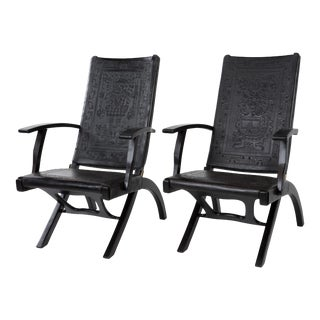 Pair of Rare Vintage Angel I. Pazmino for Muebles De Estilo Leather Armchairs For Sale