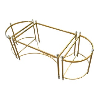 French Maison Jansen / Baguès Brass & Glass Three Pieces Coffee Table 1950s For Sale