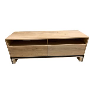 Contemporary Oak and Metal Tv Storage Console For Sale