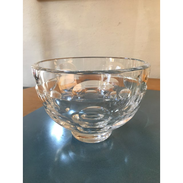 Nice Glass Bowl designed by Mona Morales Schildt for Orrefors. Beautiful circle and half circle etched design with ground...