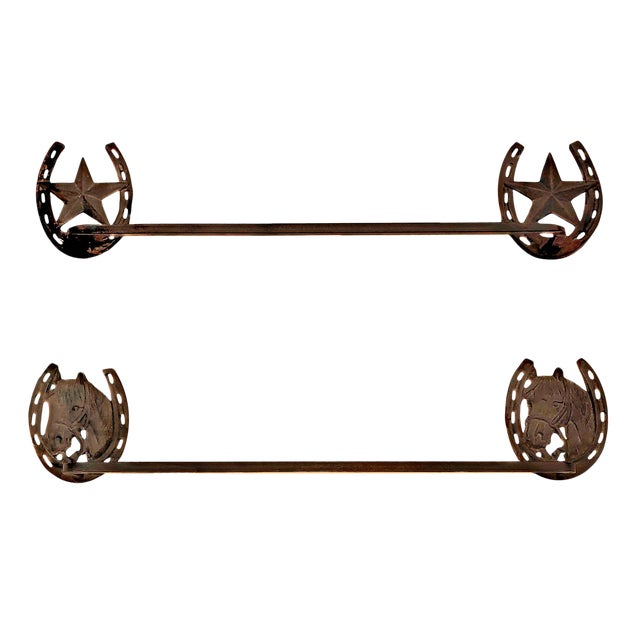 Contemporary Cowboy Western Themed Rustic Iron Towel Bars - a Pair For Sale