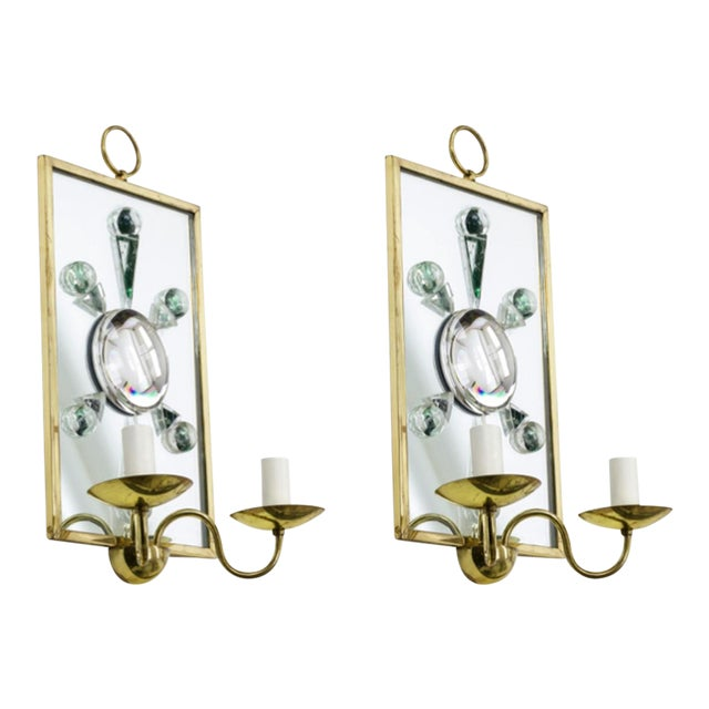 Andre Hayat Pair of Rock Mirrored Crystal and Gold Bronze Pair of Sconces. For Sale